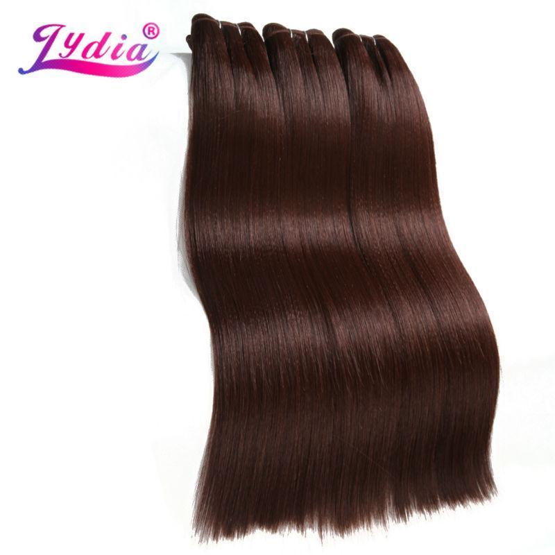 İnsan Ponytails Lydia Sentetik Saç Uzatma 3 Adet / grup Düz Yaki Dokuma 10-26 inç Saf Renk 33 # 100% Futura Paketler