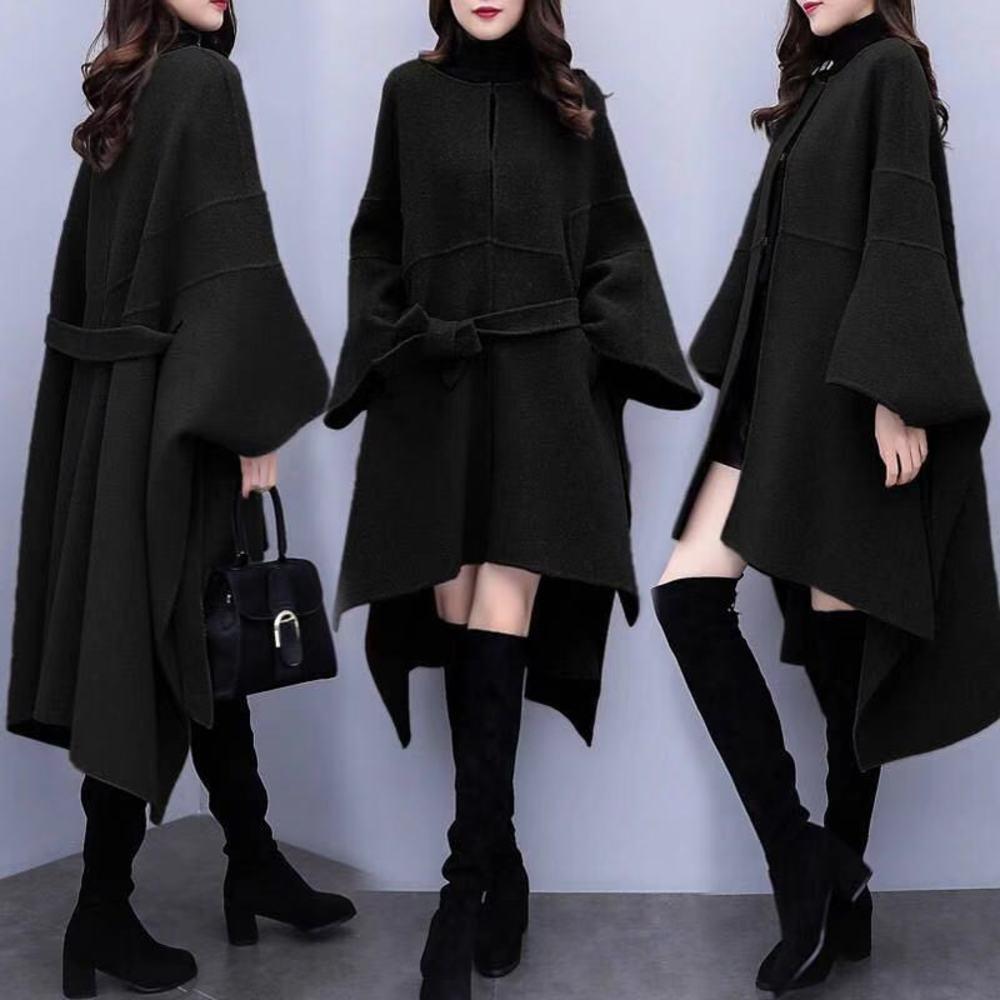 wool spring and autumn large Korean loose tweed medium length over knee Cape woollen coat women's clothing