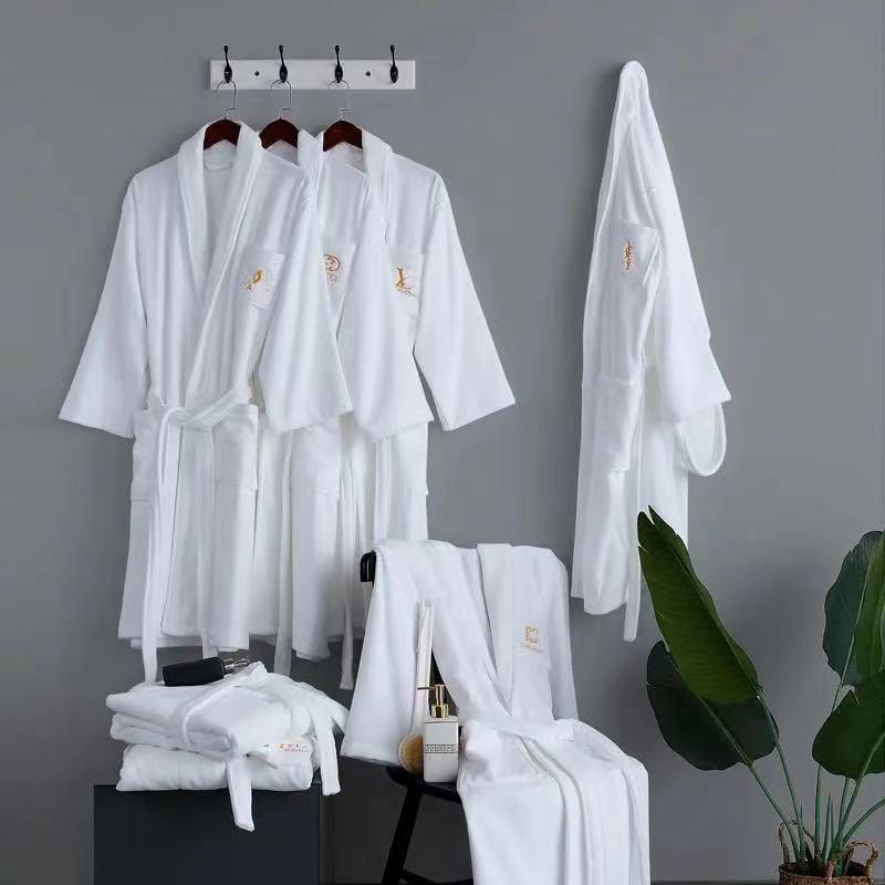 GUVC Women Men Luxurys Designers Top Quality Cotton Robe Kimono White Feminino Bath Large Size Peignoir Femme Sexy Bathrobe
