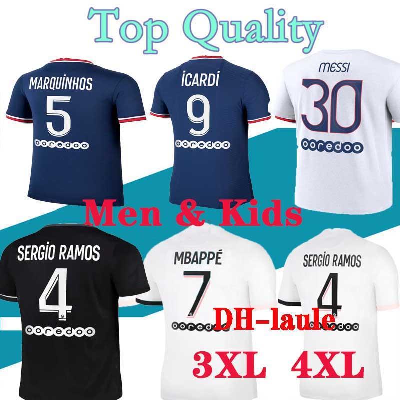 S-4XL PSG  Maillots de kits de football 20 21 maillot de football Paris 2020 2021 MBAPPE hommes chemise ICARDI de pied mis en maillot enfants Hommes