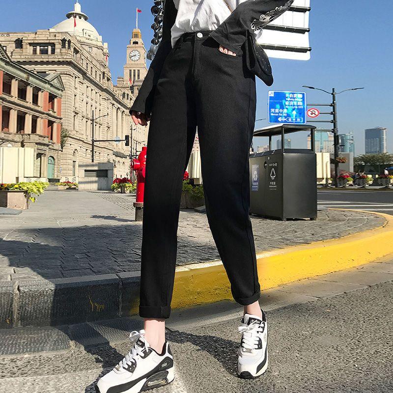 Jeans blancos coreanos Mujeres Harem Harem Mamá Jeans 2021 Primavera Nuevo Talla grande Black Mujeres Jeans Vintage Denim Pantalones con cinturón