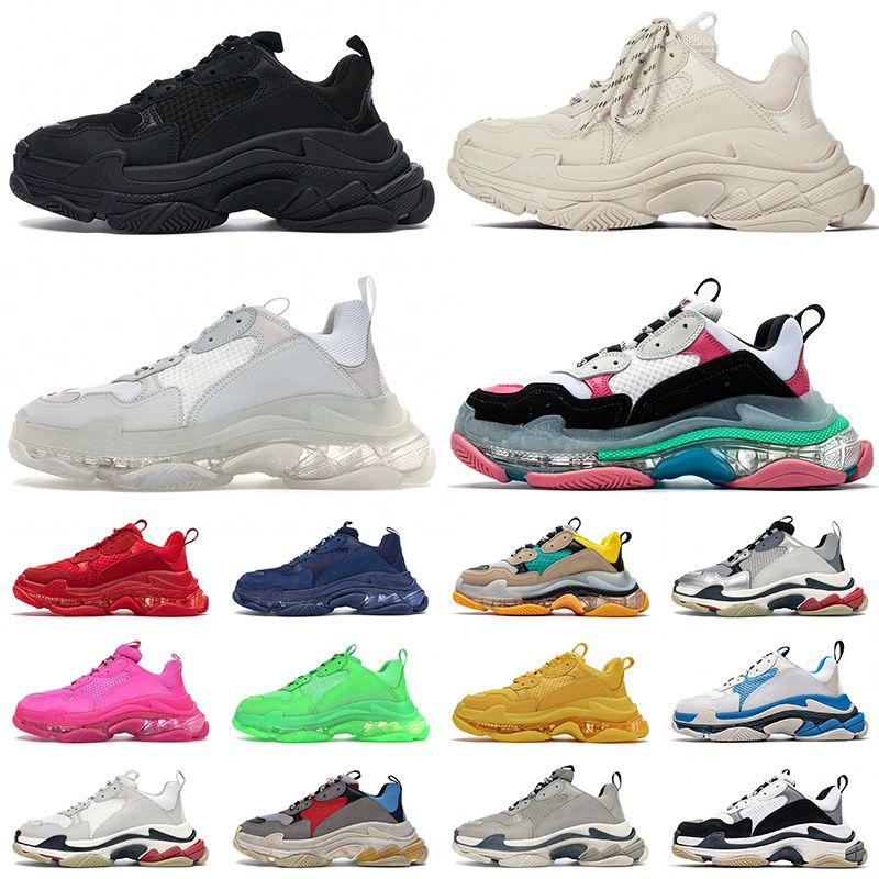 chaussures balenciaga balenciaca triple s femmes baskets de mode semelle claire casual chaussures de papa hommes femmes plate-forme 17FW Paris vintage vieux cristal bas designer