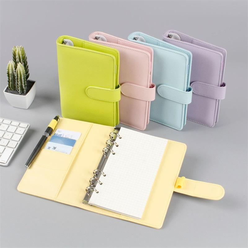 A5 / A6 colorido criativo impermeável macarons pinder mão cader caderno shell solto-folha bloco de nites diary papelaria capa escola escola 676 v2