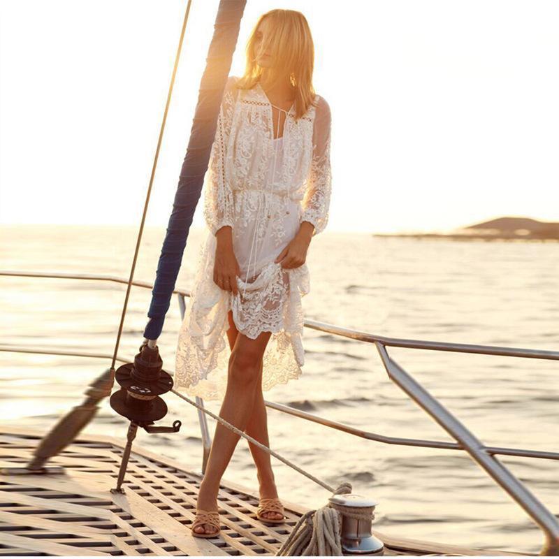 Summer Women Long Dress Set V Neck Sexy Hollow Out White Lace Beach For Bikini Beachwear Sun Clothes Casual Dresses