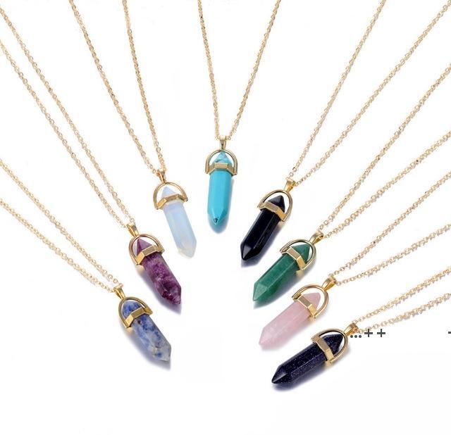 10 цветов натуральные каменные пулевые ожерелье золотая цепь шестиугольный кварцевый кристалл ожерелья для женщин ювелирные изделия EWD10139