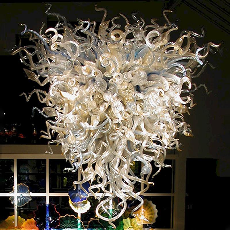 Lâmpada de pendente de estilo antigo Chihuly lustre mão soprada candelabros de vidro Murano sala de estar lâmpadas de lâmpadas de enforcamento LED para casa 40 por 48 polegadas