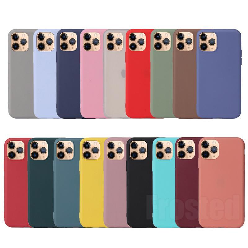 Doces coloridos ultra slim fosco fosco tpu silicone tampa de borracha capa de telefone para iphone 13 pro max 12 mini 11 xs xr x 8 7 6 6 s mais