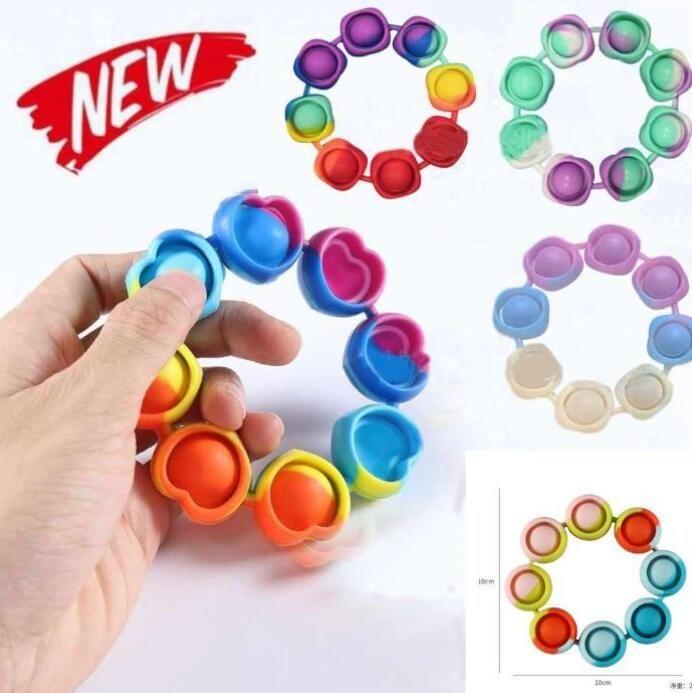 Stock Zappeln Armband-Abstrakte Stress-Spielzeug Regenbogen-Blase Push IT Antistress Spielzeug Erwachsene Kinder Sensorie, um Autismus-Armband-DHL 49666 zu lindern