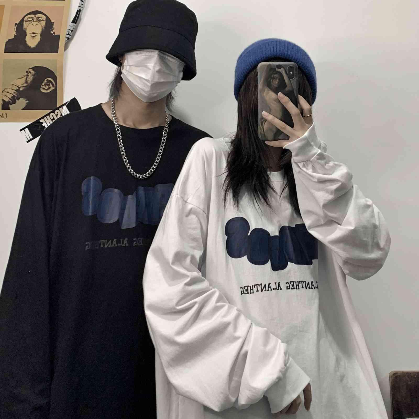 rue harajuku sud automne coréa haute mode top bleu lettres loge lovers t-shirt à manches longues hommes et femmes