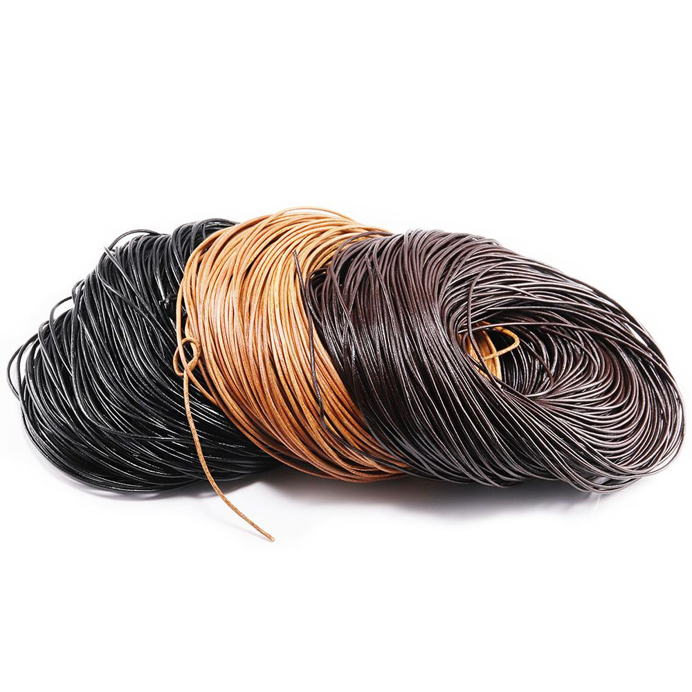 2-5m/lot 1.5 2 2.5 3 4 5 6mm 3 Color Genuine Cow Leather Round Thong Cord DIY Bracelet Findings Rope String For Jewelry Making