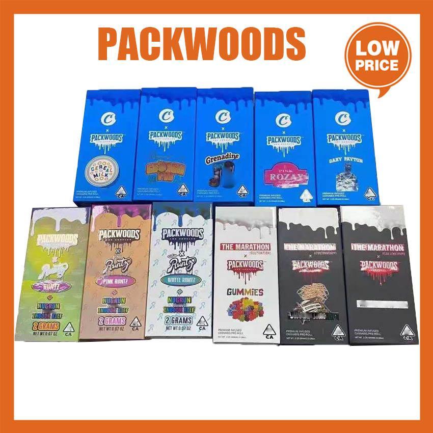 Packwoods Tubi Preroll Borsa da imballaggio congiunta Borsa da imballaggio in plastica Bottiglia di stoccaggio dell'erba Asciugatura Cappuccio del silicone infantile 11.8 * 2,4 cm Biscotti della scatola Runtz in magazzino