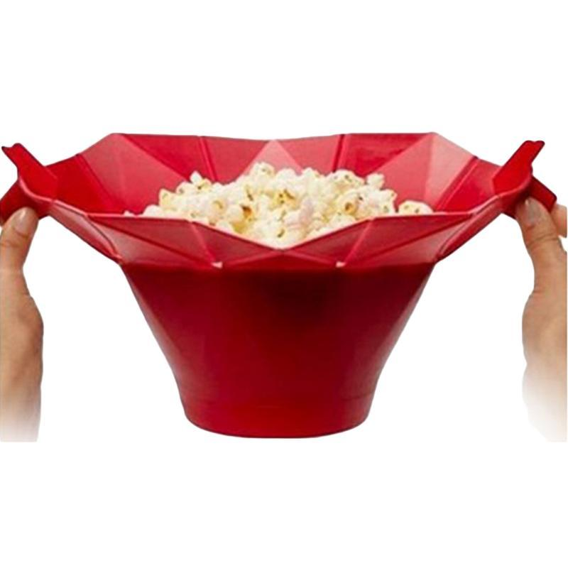 Cozinha Popcorn Maker DIY Silicone Microondas Dobra Bucket Recipiente Bacias