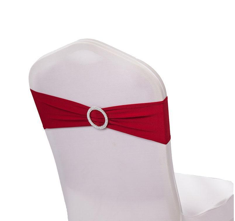 2021 100pc/lot Wedding Chair Band Bow Spandex Lycra Wedding Chair Cover Sash Bands with Buckle Banquet Party wedding decoration