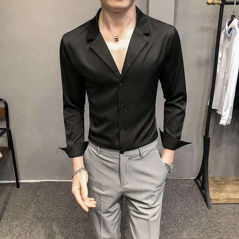 남성용 섹시한 V 넥 셔츠 긴 소매 슬림 피트 캐주얼 셔츠 streetwear 사회 파티 나이트 클럽 블라우스 블랙 화이트 chemise homme 남자