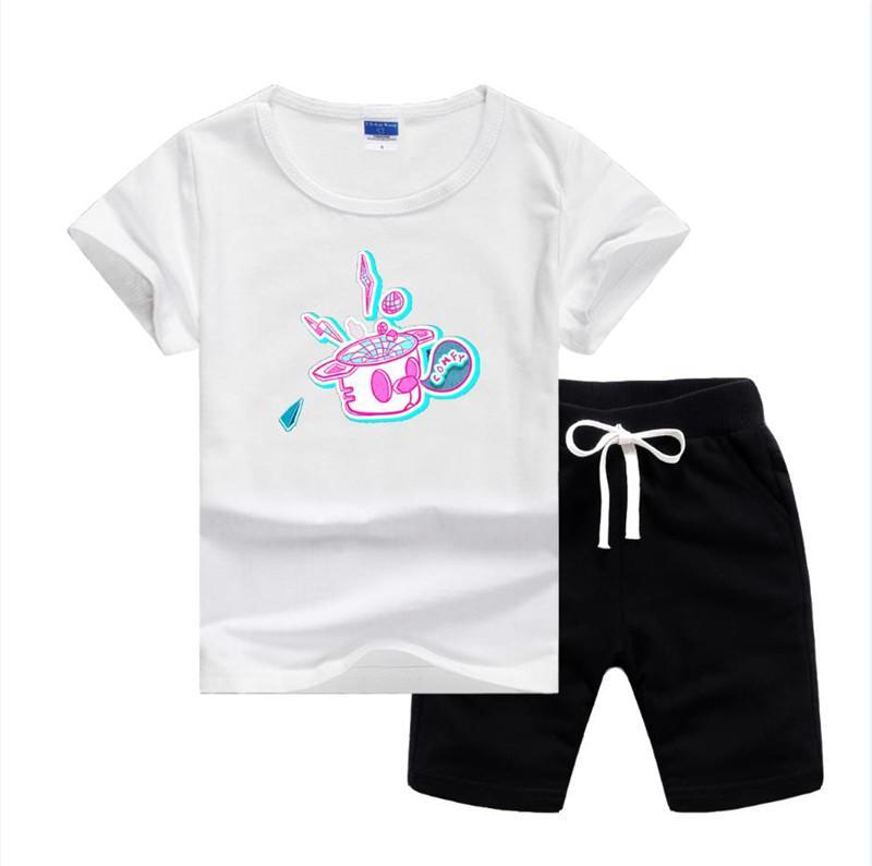 Vslogo Brand Luxury Designer Baby Summer Summer Set Одежда для одежды Дети Мальчик Девушка с коротким рукавом Футболка Брюки 2 шт. Костюмы моды спортивные наряды наряда летний спортивный костюм