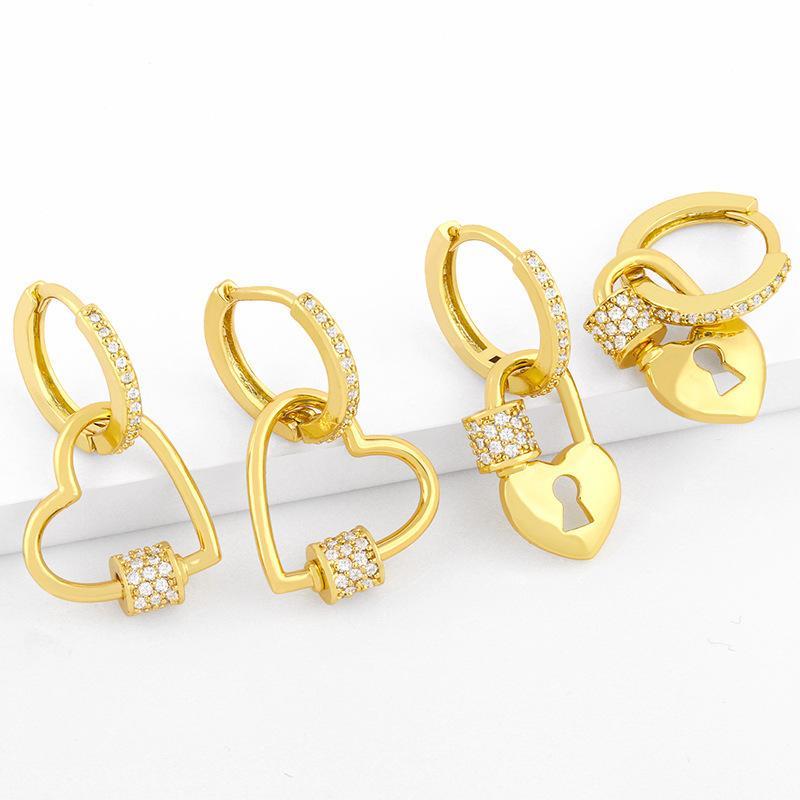 디자이너 복숭아 심장 자물쇠 차가운 바람 여성의 사랑은 2021 년 다이아몬드 새로운 패션 귀걸이로 상감