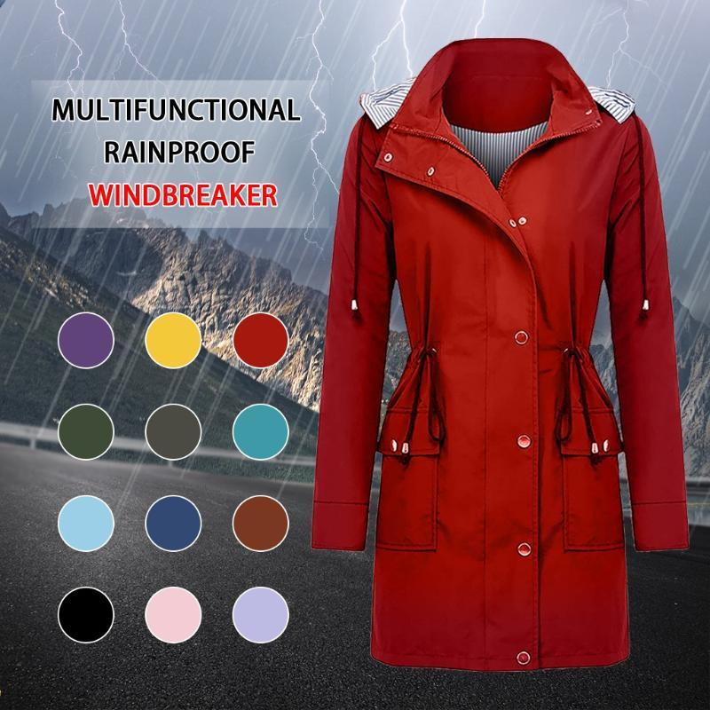 Abrigos de la zanja para mujer 2021 Abrigo impermeable A prueba de viento A prueba de viento Colorado Color Sólido Ligero con capucha Moda Unisex Outdoor Sportswear Jack de invierno