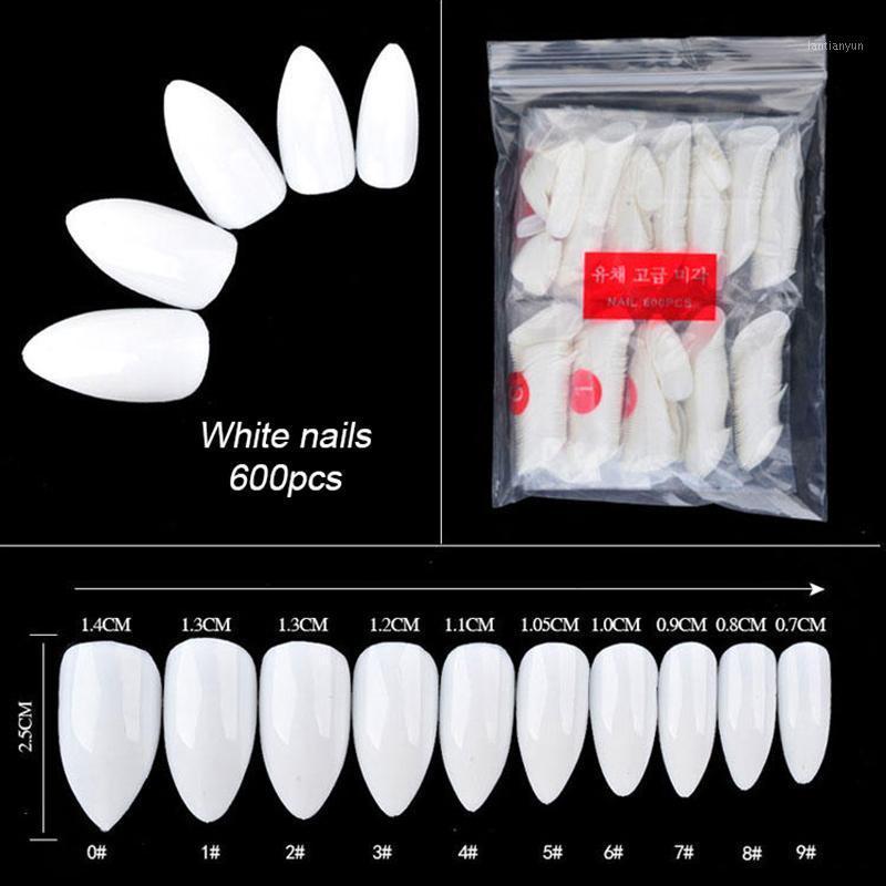 600pcs Colle Clear Blanc Couleurs Naturels Blanc Faux Astuces d'ongles Acryliques UV Gel UV Gel Ultra Flexible Pack de 600 fausses Nails1