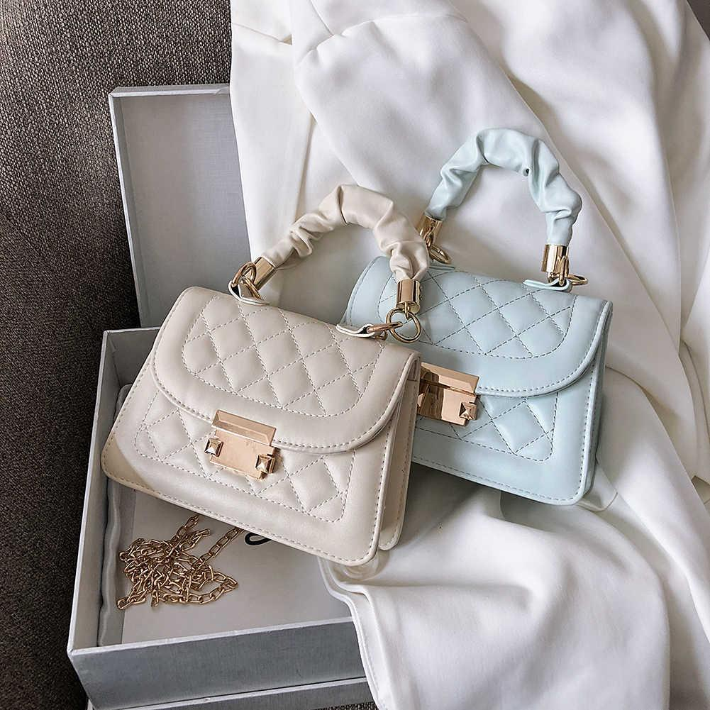 Casual PU Leder Sling Handtasche Geldbörse Frauen Elegante Kette Schulter Crossbody Bag Beliebte Einfache Weibliche tägliche Tasche C0601
