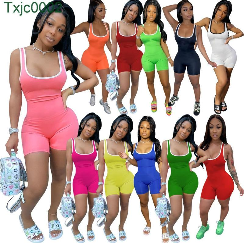 Sexy Women Casual Sports Jumpsuits Rompers Designer Short Pants Onesies Sleeveless Skinny Halter Bodycon Solid Color Running 862