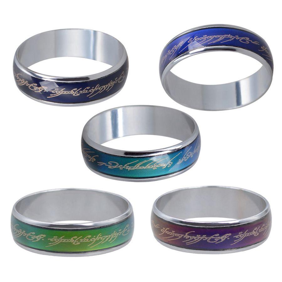Film Lord of the Rings Magische Sprache Warmstimmung Farbwechselring Ring Platin-Plattierung Qualität Produktion 4QWO