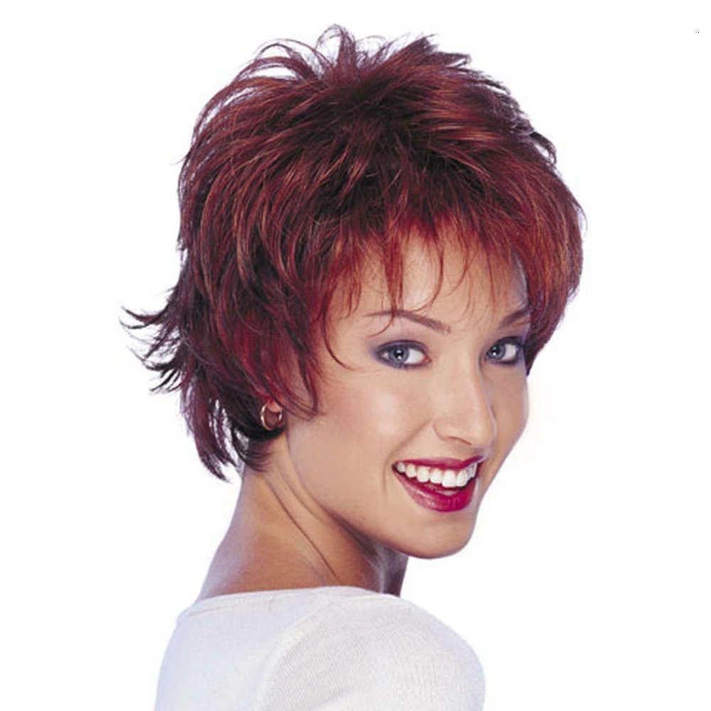 perruque perruque mode femme moelleux vin rouge couleur mixte cheveux courts bouclés cheveux