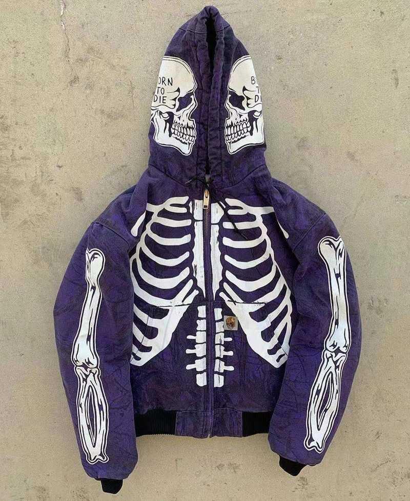 Skeleton Zip Up Hoodie Streetwear Zip Hoodie Longsleeve Couples Matching Hoodies Gothic Clothes 남성용 대형 까마귀 후드 Q0814