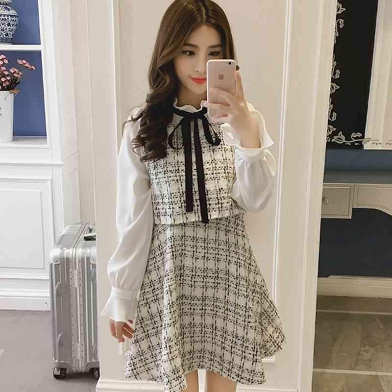 Outono inverno novo vintage vestidos coreanos mulheres elegante vestido festa de manga longa pista vestidos 210322