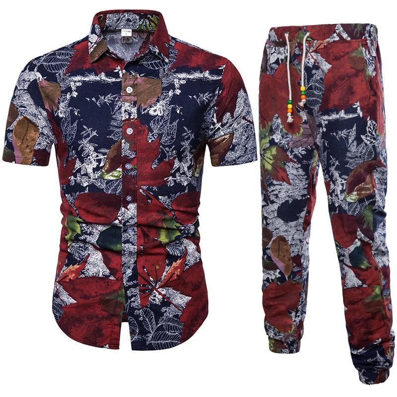 Весна и осень Новый мужской костюм для рубашки с коротким рукавом