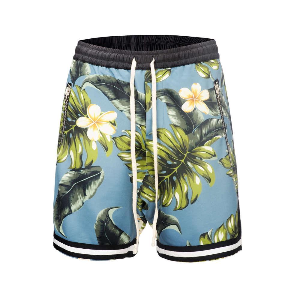 الصيف الشاطئ ins الهيب هوب الرجال كابريس هاواي زهرة فضفاضة قطع السراويل مخيط السراويل الرياضية