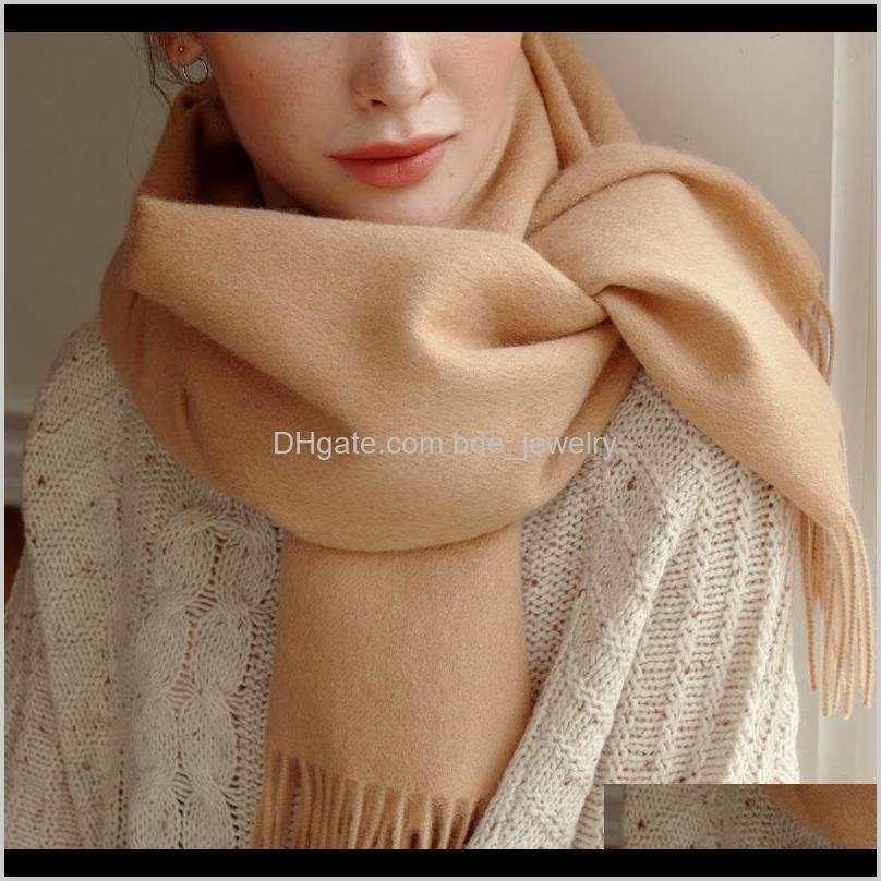 Envueltos sombreros, guantes aessorefall / estilo de invierno Cashmere Womens Bufanda de color sólido Color de lana pareja cálida y gruesa tassel puro chal cicatriz