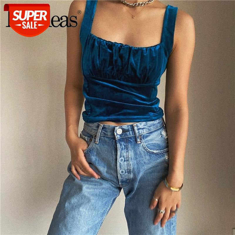 2021 sexy haut femme mulheres colheita de moda camis casual streetwear ruched velevt azul mulheres tanque # ww1m