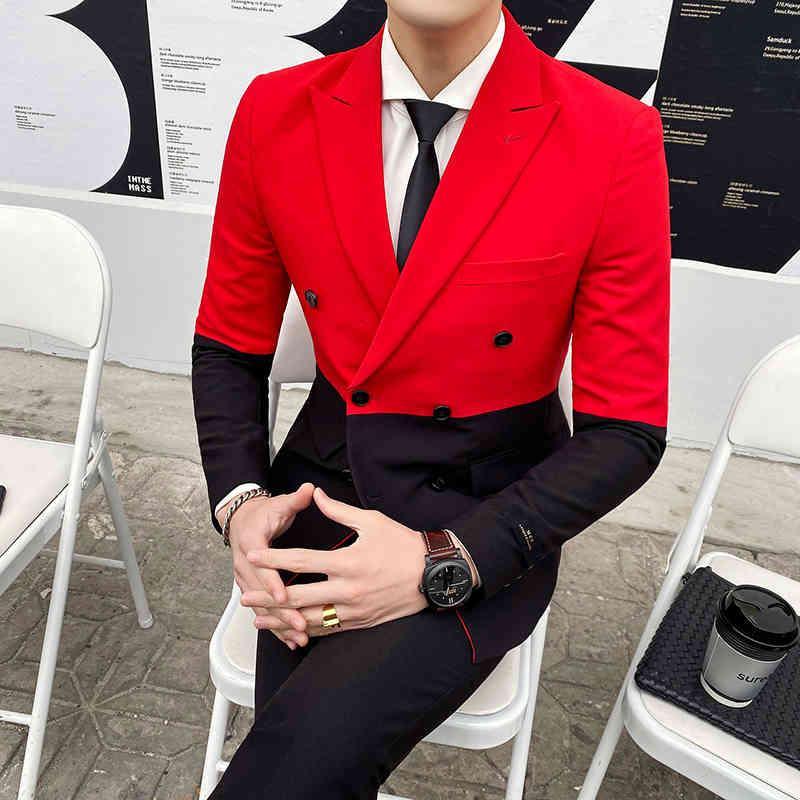 TERNO 2021 Nouvelle couture Couleur Contraste Couleur Mensoire Streetwears Stade Tuxedo Designer Slim Supplément à double boutonnage Hommes