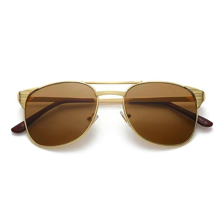 Vintage Männer Square Sonnenbrille Metallrahmenzeichen Design Hohe Qualität Fahren Eyewear für männliche UV400