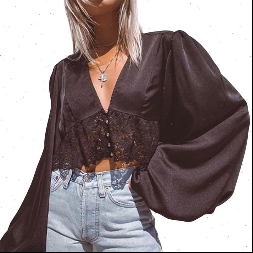 Uzun Fener Kol Moda Kadın Gömlek Zarif Plaj Ofis Kırpma Üst Derin V Boyun Dantel Çiçek Blusa Güz Bahar