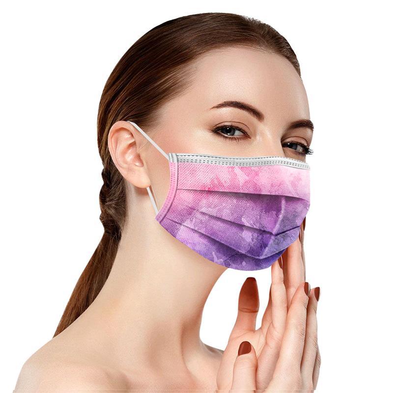 2021 بالغين الأطفال الملونة التعادل صبغ قناع الوجه المتاح 3 رقائق غير المنسوجة مكافحة الغبار مكافحة التلوث PM2.5 القناع غطاء الفم المتاح