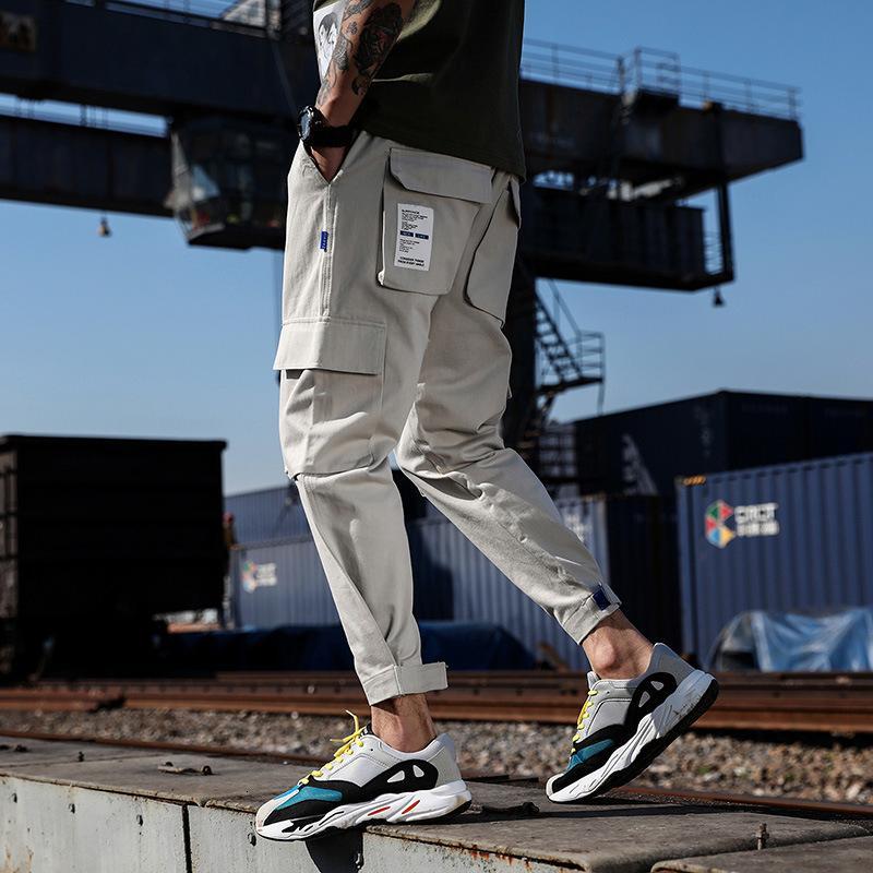 Spring and Summer Cotton Habitudes Fashion Men's Fashion Pantalon des hommes Lâche Slim Petites pieds Trend Pantalon polyvalent