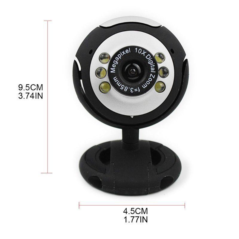 Clip-On Night Vision Six Lamp Caméra Caméra Ordinateur portable Webcam Vidéo Zoom Accueil Lens Webcams