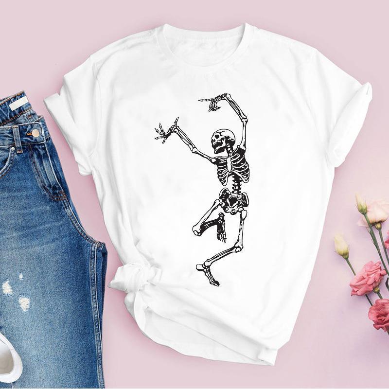 Grafik Karikatür Kafatası Komik Sevimli Kadın T Gömlek Rahat 90 S Kısa Kollu Baskı Tops Lady Tees Giyim Kadın Bayan