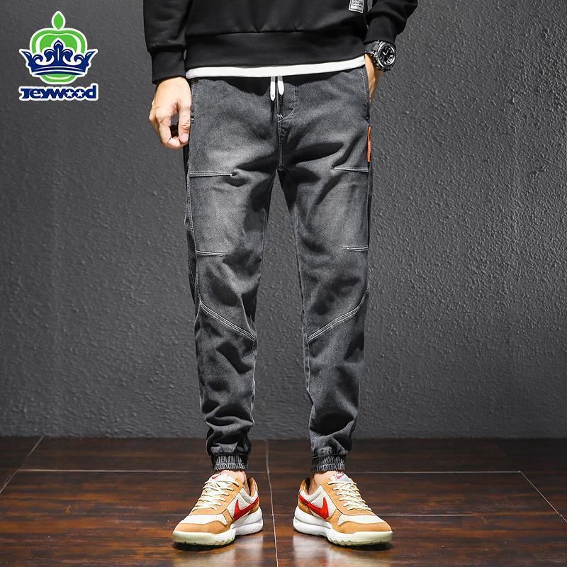 İlkbahar Sonbahar erkek Harem Kot Pamuk Denim Kargo Pantolon Jogger Hip Hop Gevşek Slim Fit Rahat Pantolon Erkek Mavi Gri 3 4XL