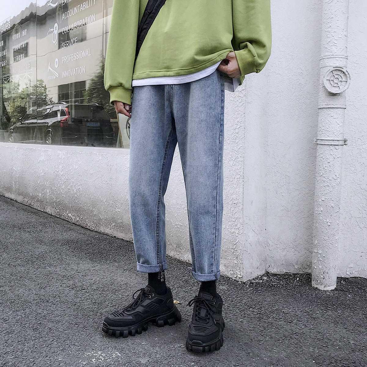 2021 Primavera y jeans otoño TUBO SLIM Pequeño Color Sólido Color Sólido Pantalones