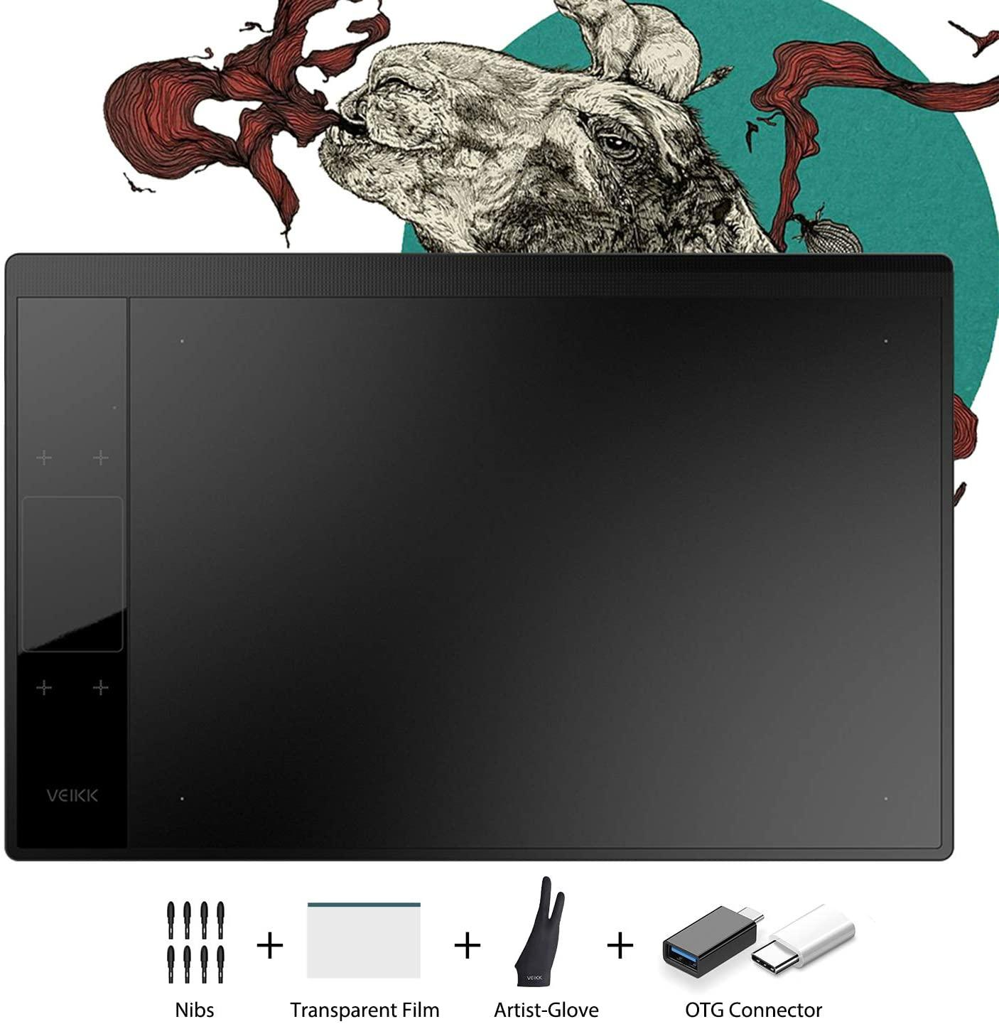 VEIKK A30 V2 10x6 inch Graphic Drawing Tablet Digital Pen Tablet with 8192 Levels Battery-Free Pen, 4 Touch Keys and a Touch Pad