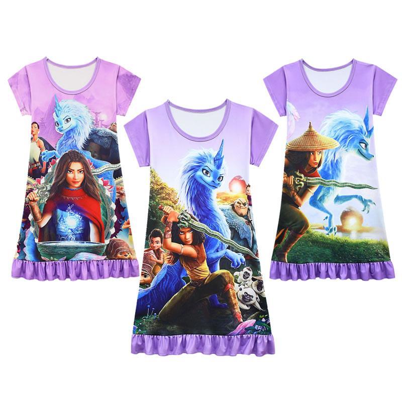 Estate Dress Up Girl per Raya e The Last Dragon Costume Moda Bambino Cartoon Stampa Dormire Abiti Dormire Bambini Pigiama Tunica Tunica Abbigliamento