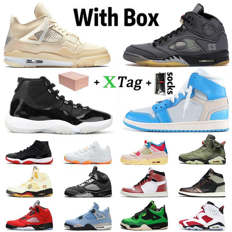Kutu ile Stock x Ayakkabı Nike Air Jordan Retro 1 Jordans 1s off white 4 4s Sail 5 What The High Concord 11 Mid Milan Cactus Jack Erkek Kadın Ayakkabıları Trainers Sneakers