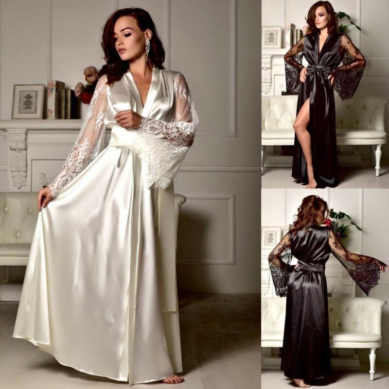 Femmes dentelle dentelette de nuit chemise de nuit satin satin robe à manches longues col en V bandage féminin robe de sommeil femmes