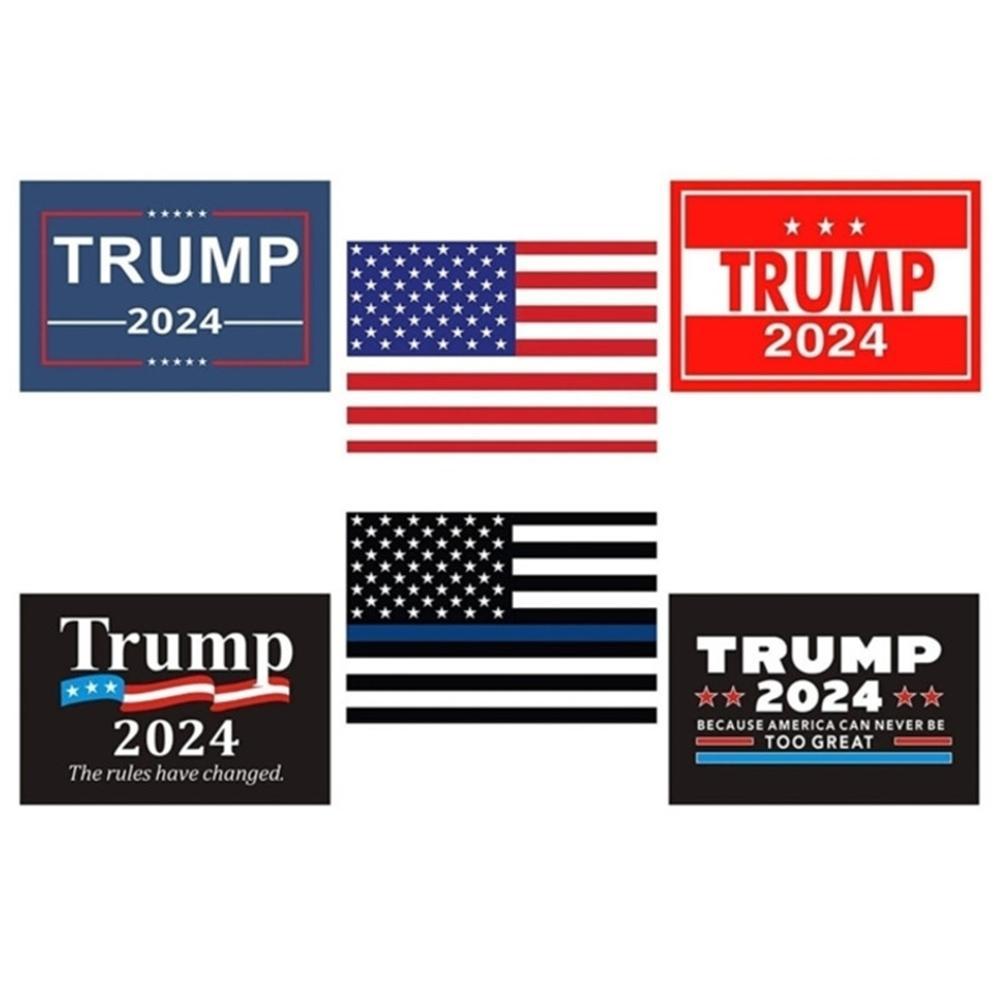 6 unids / set Donald John Trump 2024 EE.UU. Pegatinas de automóviles Los accesorios de las etiquetas engomadas de la bandera nacional estadounidense Pegatina de pastor impreso G338ETW
