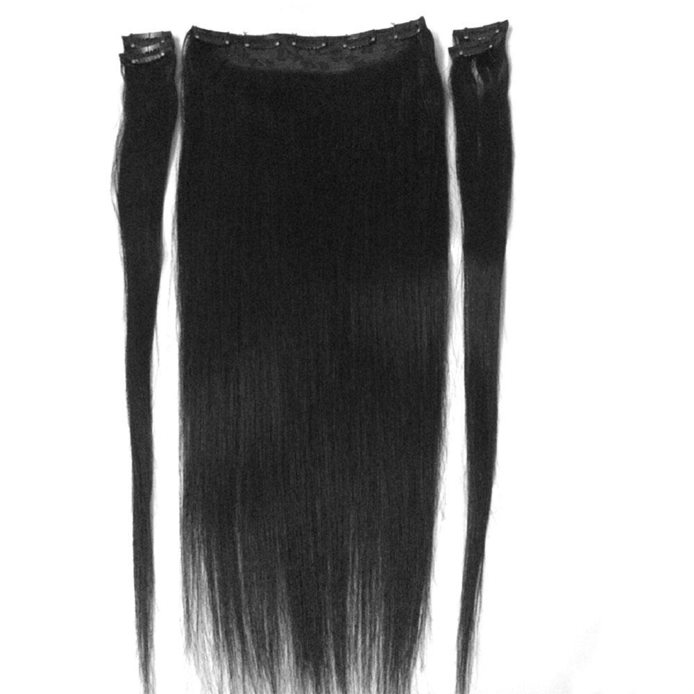 """16 """"-28""""5 조각 세트 180g 100 % 브라질 레미 클립 인간의 머리카락 확장 9 클립 자연 직선"""
