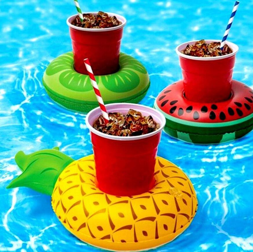 MINI POSTADORES DE AGUA Poselera flotante de la taza inflable Piscina Bebida Float Toy Inflable Círculo Pool Posavasos
