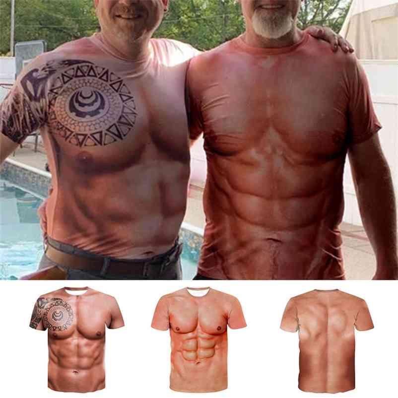 T-shirt do t-shirt do tattoo do músculo mais novo T-shirt dos homens da manga curta 3d impressão digital 210322