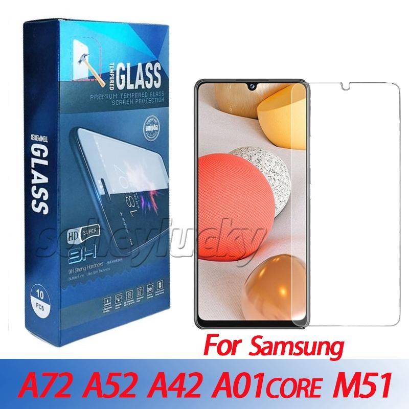Clear Screen Protector Copo Temperado para Samsung A52 A72 A42 M51 M31S A01 M01 Core A91 A81 A11 M21 M31 A51 A71 S10 Lite 0.33mm 2.5D 9h com pacote de varejo